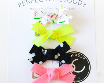 mini madeline bows - bows for infants - bow sets - mini nylon bows - Rifle Paper Co. bows - baby girl bow - tiny headband bows