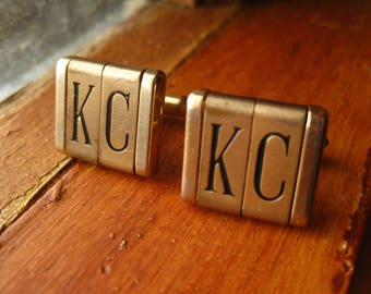 Swank Cuff links Initials K C Gold Tone Vintage Monogram