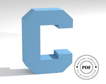 Printable DIY template (PDF).  Letter C low poly paper model template. 3D paper lettering. Origami. Papercraft. Cardboard alphabet.