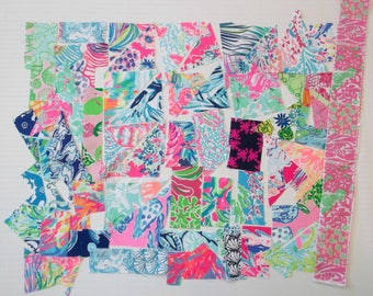 Preppy Colorful Lilly Pulitzer Fabric Scraps 45pcs