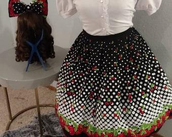 Sassy Cherry Border Print Sweet Lolita Skirt and Hairbow Set