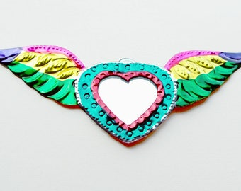 Mexican Tin Ornament / Milagro Winged Heart / Sacred Heart / Mexican Folk Art / Hand Painted / Multicolor Heart Mirror / Home Decor / Wings