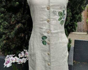 Hand painted linen dress string shoulder