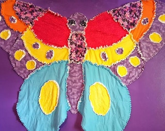 Butterfly Rag Quilt - Baby Girl Quilt - Baby Blanket - Baby Shower Gift - Custom Rag Quilt - Patchwork Quilt - Crib Bedding - Nursery Decor