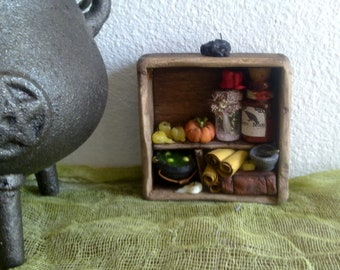 Dollhouse Miniature, OOAK,Cabinet Witch, Wizard,  magic,Spooky,apothecary cabinet