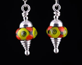 Tiny Lampwork Bead  Earrings