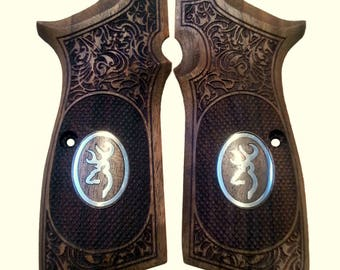 handmade Browning Hi Power grip with Browning Logos made of Walnut Wood&Silver.(make your own custom pair of grips).