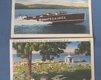 Vintage Linen Weirs Beach, Lake Winnipesaukee, N.H. Postcards unmailed