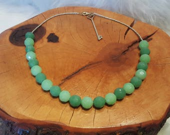 Green Statement Necklace with Key Charm