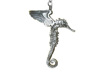 Seahorse Necklace    winged flying silver gold wings pendant charm jewelry