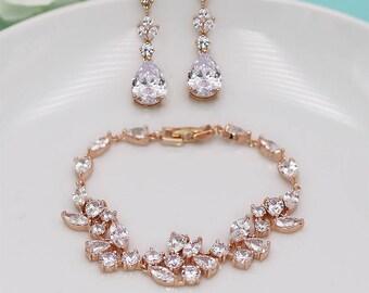 Rose Gold Bridal Bracelet Set, Wedding Earrings and Bracelet, Rose Gold Jewelry, Natalia Rose Gold Earrings Bracelet Set