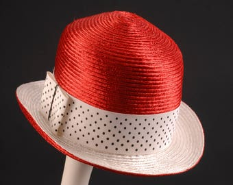 Adolfo II Red Straw Hat for I. Magnin & Co.
