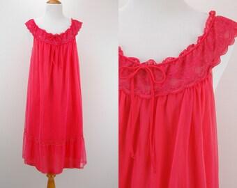 60s Hot Pink Chiffon/Orange Nylon Nightgown - Size Medium