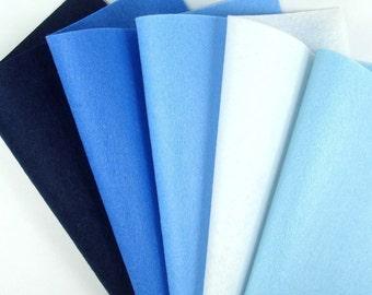 5 Colors Felt Set - Sea - 20cm x 20cm per sheet