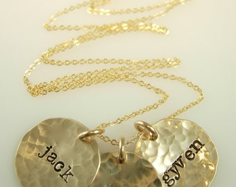 Hammered Hand Stamped Necklace - Hand Stamped Jewelry - Gold Name Necklace - Engraved Necklace