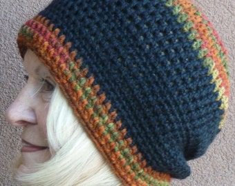 Cute winter slouchy hat in black, women's crochet hat with rust, red and green, very comfortable and warm winter hat, quality handcrafted