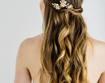 Blossom Spray Comb, Gold comb, Flower headpiece, Gold Headpiece, bridal tiara, bridal headpiece, bohemian, small comb, leaf comb #153