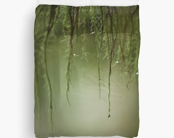 Duvet cover with mossy dewy branch in the deep green forest, nature,woods, home décor, accents, bedding, twin, queen, king sizes