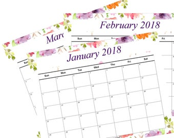 2018 Printable Calendar Floral Watercolor