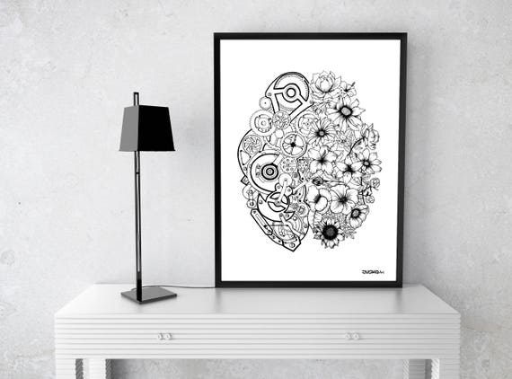 Left Brain Right Brain | Framed Poster | Wall decor | Ink Illustration | Tattoo art | Black and white | Floral art | Mechanisms |Zuska Art