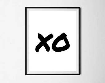 X O Downloadable Printable Print Digital Download Art Design Black and White Typography Sassy Word Decor