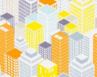 1 Yard City Buildings Boys Mens Tall Superhero Skyscraper Flannel Fabric