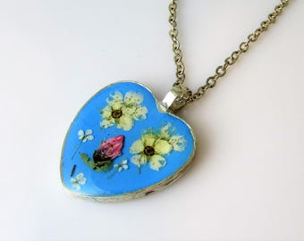 Real Flowers on Blue, Pressed Flower Pendant,  Real Flower Necklace,  Resin (3080)