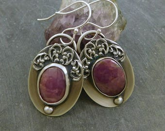 Pink Sapphire Ornate Earrings, Oxidized Sterling Silver, Rose Cut Sapphire, Natural Sapphire Stones