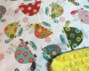 Minky Blanket Turtle Print Minky with Yellow Dimple Dot Minky Backing - Perfect Size for a Baby or Toddler