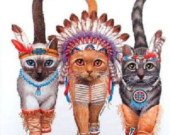 Three Indian Kittens Cat Image Womans Short Sleeve T Shirt Top  12252