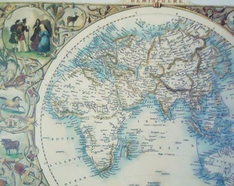 Vintage world map etsy gumiabroncs Gallery
