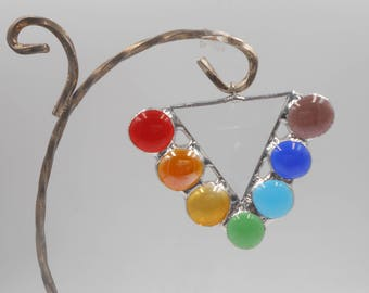 Beveled Triangle Suncatcher with glass gems Chakra Theme Reflect Rainbows Prism