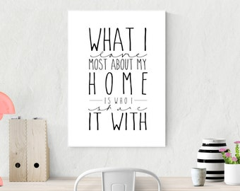 What I Love Most About My Home is Who I Share it With | 8x10, 11x14 | Instant Download | Digit Print | Inspirational Quote