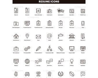 resume icons cv clip art curriculum clipart set of icons line linear - Icons For Resume