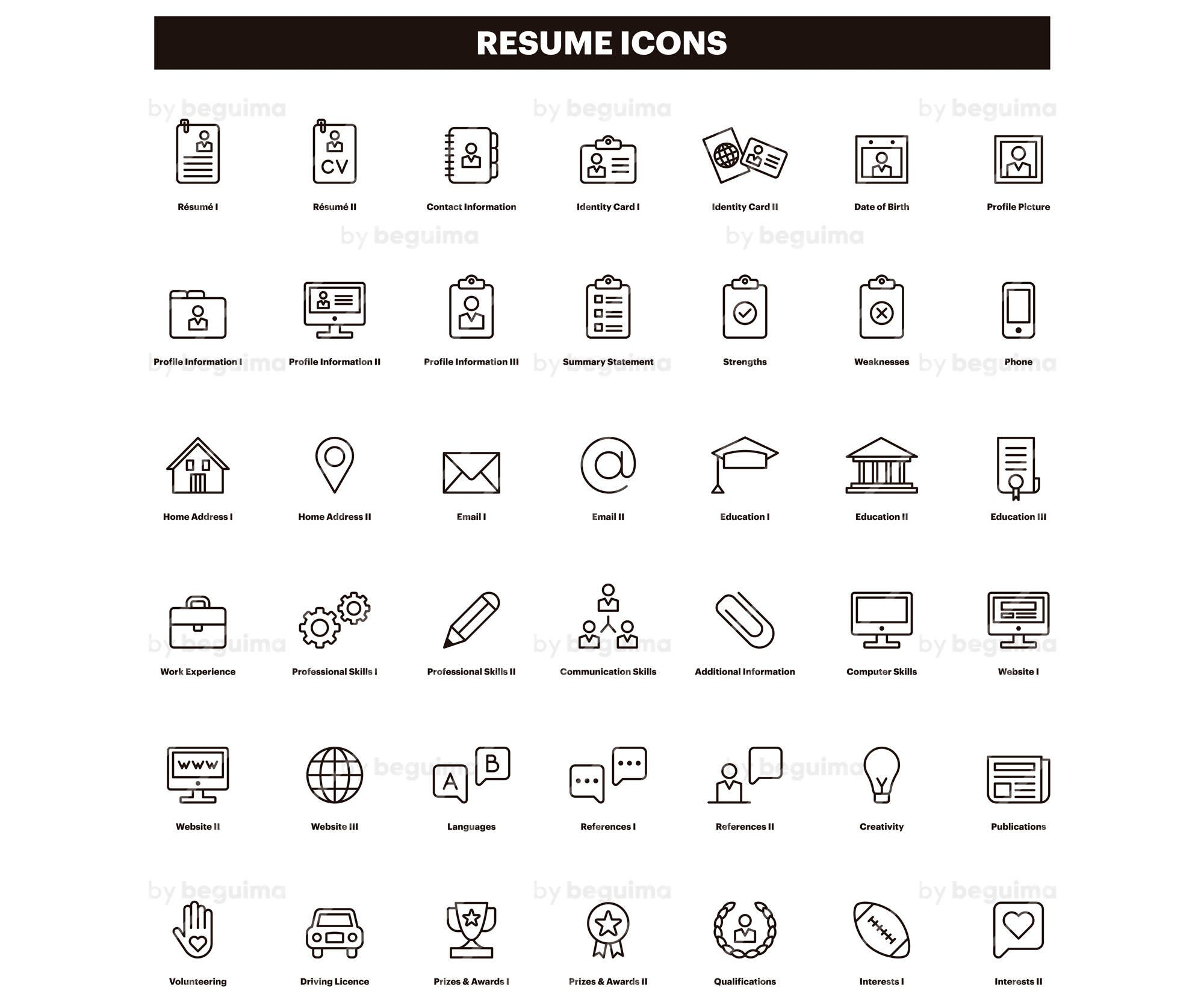 Resume Icons, CV Clip Art, Curriculum Clipart, Set Of Icons, Line ...