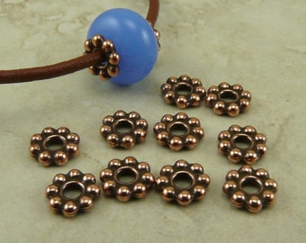 Large Hole Daisy Spacer Beads 8mm Qty 10 TierraCast  > Copper Plated LEAD FREE Pewter - I ship Internationally NP