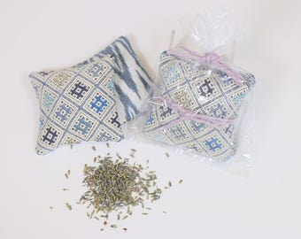 Pair of Fragrant Lavender Sachets in unique fabric combinations gift wrapped