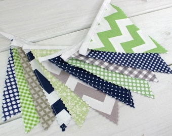 Baby Shower Bunting Fabric Banner Garland Baby Boy Nursery Decor Fabric Bunting Nursery Bunting Green Grey Navy Blue Gray Chevron
