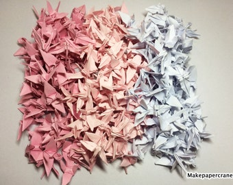 """1000 Origami paper cranes Pink 1.5"""" Handmade folding for Wedding Valentines Day"""
