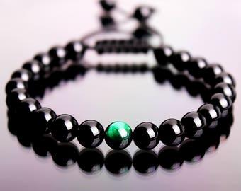 Shamballa Bracelet, Men's Bracelet, Onyx Bracelet, Tiger Eye Bracelet, Gemstone Bracelet, Beaded Bracelet, Macrame Bracelet, Onyx Bracelet