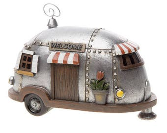 Fairy Garden Camper-Fairy Garden Camping-Airstream Trailer-Airstream Decor-Retro Camper-Fairy Garden Accessories-Miniature Fairy Garden