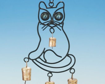 Smaller Kitty with beads and bells wind chimes, cat lover,hippy, bohemian