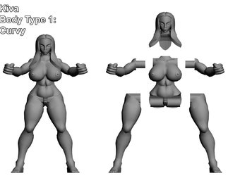 Curves and Swords actionfigure custom figure statue 3dprint sexy nude erotic art toy female girl demon figurine curvy devil 3d