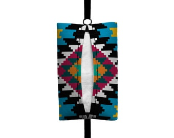 Auto Sneeze - Aztec - Visor Tissue Case/Cozy - Car Accessory Automobile - Turquoise Raspberry Yellow Black White Tribal Indian