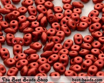 25g (300pcs) Lava Red Metallic Super Duo Czech Glass Seed Beads 5x2.5mm