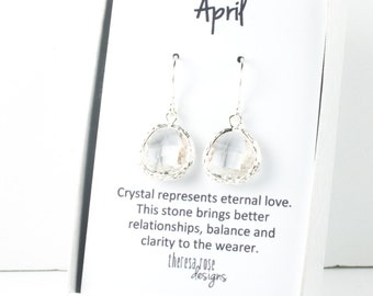 April Birthstone Silver Earrings, Crystal Silver Dangle Earrings, April Birthstone Jewelry, Silver Earrings, Bridal Earrings, #794