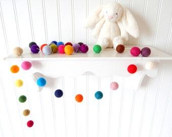 Nursery Garland, Rainbow Garland, Felt Ball Garland, Felt Ball Bunting, Gender Neutral Decor, Mantle Garland, Girl or Boy Nursery Decor, Pom