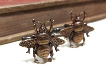Bumble Bee Cufflinks - Honey Bee - Antiqued Brass / Brass Ox Cuff Links - Soldered