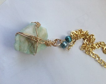 OOAK Amazonite, Gold ,Teal Pearl Knockout Necklace,jewelry, Standout, Lilyb444, Large Focal Necklace,