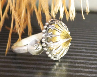 Art Deco style Memorial Hair or Pet Ash Ring Sterling Silver